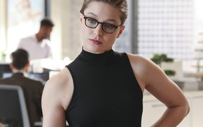 Picture Girl, Look, Glasses, Girl, Actress, The series, Beauty, Beautiful, DC Comics, Actress, Supergirl, Black, Glasses, ...