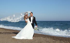 Wallpaper veil, groom, the groom, wedding, bouquet, sea, walk, bouquet, joy, dress, summer, wave, sea, dress, ...