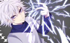 Picture anime, art, electricity, Hunter x Hunter, Killua