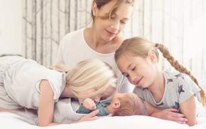 Picture joy, children, girls, family, mom
