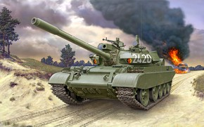Picture road, Smoke, tank, Soviet, NVA, Average, DDR, T-55АМ-2B