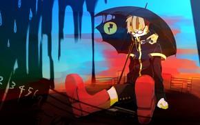 Picture rain, umbrella, guy, Vocaloid, Vocaloid, Kagamine Len