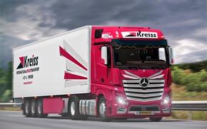 Picture Truck, Mercedes, Track, Art, Tractor, The truck, Cargo, Trucker, ETS2, Euro Truck Simulator, Kreiss
