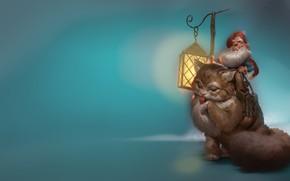 Picture character, fantasy, mood, art, flashlight, dwarf, driving, children's. cat, Even Amundsen, Dagfinn Snauholt