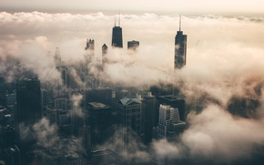 Picture USA, clouds, the city, Chicago, fog