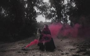 Picture girl, smoke, lantern, cloak