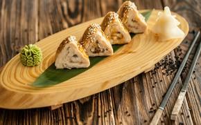 Picture sticks, delicious, rolls, wasabi