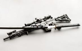 Picture sword, katana, assault rifle