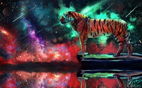 Picture space, tiger, fiction, by Bluemisti