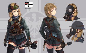 Picture girl, background, soldiers, Annie