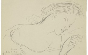 Picture paper, graphics, pencil, 1951, Sleeping girl, Tsuguharu, Fujita