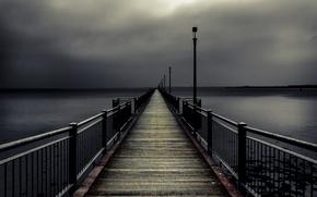 Picture sea, night, bridge