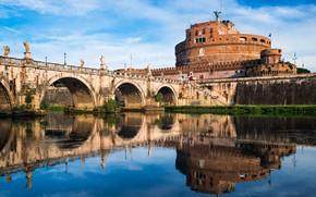 Picture bridge, river, Rome, Italy, The Tiber, Castel Sant'angelo