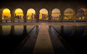 Wallpaper lights, night, home, UAE, arch, Dubai