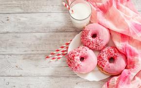 Wallpaper glass, food, milk, donuts, napkin, glaze
