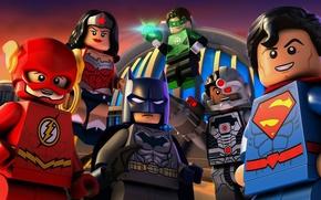 Picture Wonder Woman, Batman, smile, bat, Lego, Green Lantern, Superman, hero, pose, mask, animated film, DC …