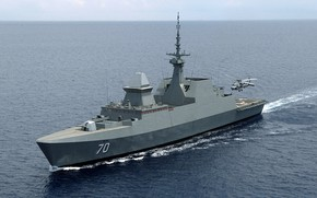 Picture frigate, deck helicopter, rss steadfast