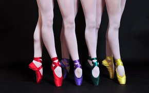 Picture legs, black background, colorful, ballet, Pointe shoes, satin