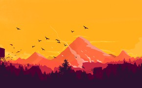 Picture Mountains, The game, People, Forest, View, Birds, Orange, Silhouette, Hills, Landscape, Art, Campo Santo, Firewatch, …