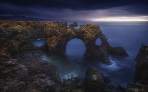 Picture sea, the sky, clouds, clouds, stones, the ocean, rocks, morning, arch, Iceland, Gatklettur