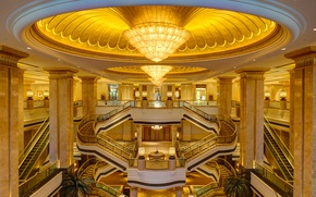 Picture ladder, chandelier, the hotel, escalator, UAE, Abu Dhabi