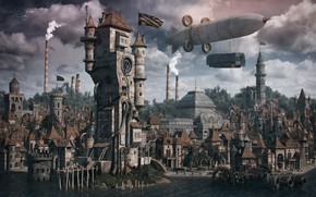 Wallpaper structure, the city, building, the airship, steampunk