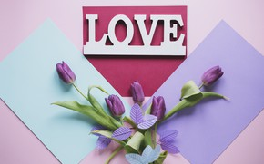 Picture letters, Flowers, tulips, love