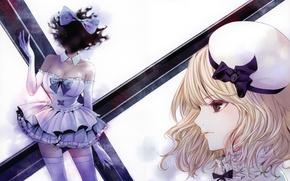 Picture face, hat, cross, stockings, blonde, neckline, gloves, profile, corset, bow, art, ruffles, Kiyohara Hiro, alter …