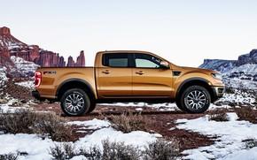 Picture the sky, snow, mountains, vegetation, Ford, plain, profile, pickup, Ranger
