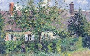 Picture landscape, picture, Camille Pissarro, Peasant House at Eragny
