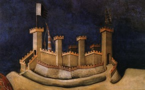 Picture castle, flag, fortress, banner, Simone Martini, the middle ages