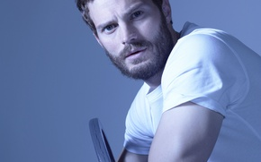 Picture look, pose, background, t-shirt, actor, white, sitting, photoshoot, on the chair, 2014, It, Jamie Dornan, ...