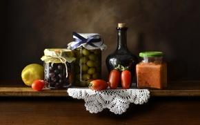 Picture lemon, bottle, still life, tomato, olives