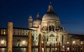 Picture night, lights, posts, Italy, Venice, Cathedral, channel