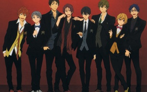 Picture shoes, glasses, costume, tie, guys, friends, art, bow tie, Nanase Haruka (Free!), Matsuoka Rin, Hazuki …