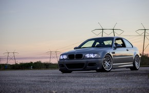 Picture BMW, Light, Sunset, E46, Evening, Silver, Sight, Angel Eye