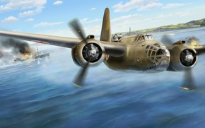 Picture art, The great Patriotic war, Douglas, WW2, light bomber, Torpedo, THE RED ARMY AIR FORCE, …