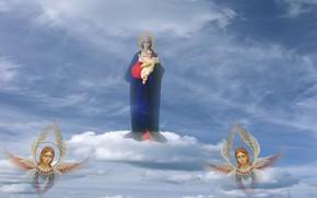 Picture the sky, Jesus, angels, Virgin