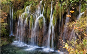 Picture autumn, waterfall, Croatia, Croatia, Lika-Senj, Plitvica