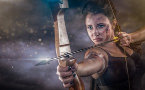 Picture girl, bow, arrow, string, wound, Abel Tonkens