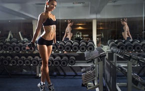 Wallpaper look, pose, reflection, gloves, mirror, fitness, dumbbells, fitness, weight, Gym, dumbbells, dumbbell row, gym