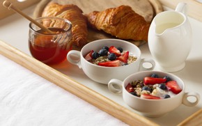 Picture food, blueberries, strawberry, honey, delicious, Breakfast in bed, yogurt, oatmeal