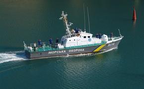Picture boat, The black sea, coast, protection, border, near, .