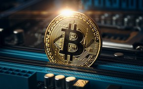 Picture coin, motherboard, bitcoin