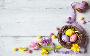 Picture holiday, Easter, wood, flowers, decor, Easter, eggs, candy