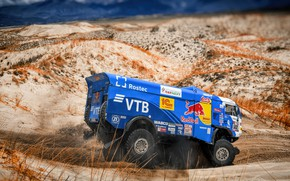 Picture Truck, Race, Master, Russia, Kamaz, Rally, Dakar, KAMAZ-master, Dakar, Rally, KAMAZ, The roads, 502, RedBull, ...