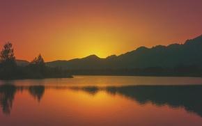 Picture twilight, sunset, lake, hills, dusk, orange sky, silhouettes