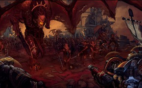 Picture chaos, space marines, demons, Warhammer 40 000, Khorne