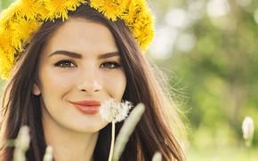 Picture girl, smile, mood, dandelion, model, makeup, wreath, brown eyes