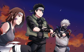 Wallpaper girl, game, Naruto, sky, woman, anime, cloud, man, sharingan, ninja, asian, Rin, friends, Uchiha, manga, ...
